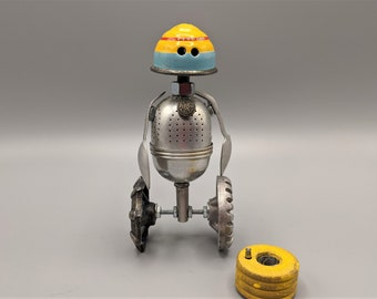 Alien robot on wheels - Found object robot sculpture - Assemblage art - Vintage tin toy top - Recycled Upcycled Repurposed art