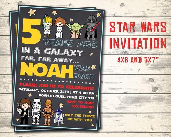 star wars invitation star wars birthday invitation star wars etsy