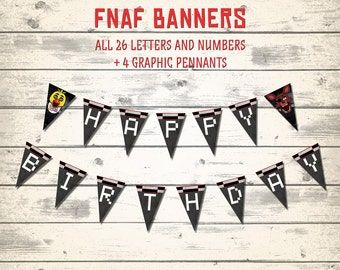 FNAF banners, Five Nights at Freddy's Banners, FNAF pennants! All letters and numbers!