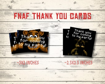 FNAF thank you cards, FNAF cards, Five Nights at Freddy's thank you cards! 2 different designs!