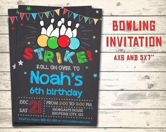 """Bowling invitation, Bowling birthday invitation, Bowling party invitation! Personalized invite, 4x6"""" and 5x7"""" sizes!"""