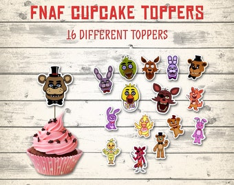 "FNAF cupcake toppers, Five Nights at Freddy's cupcake toppers! 16 different toppers, 2"" each!"
