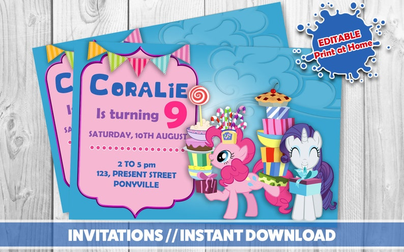 graphic regarding My Little Pony Printable Invitations known as MY Very little PONY Invitation// Printable invites //My very little pony prompt down load // Pony birthday bash