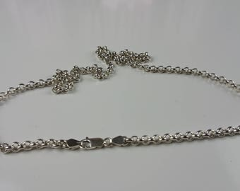 """The 5 mm Sterling silver Rolo chain with 925 stamp. Length 23,62"""" (60cm), weight 33.87 grams."""