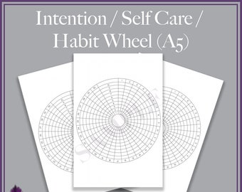 Self Care / Intention Wheel - calendar planner bullet journal pages - A5 printable pdf - bujo, daily tracker