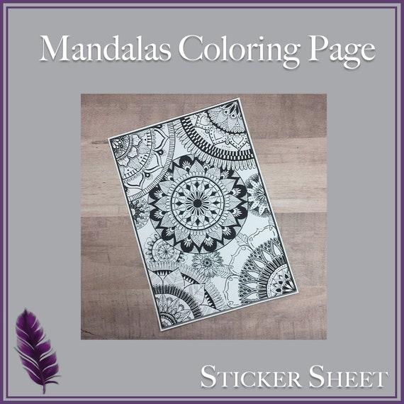 Large Mandalas Coloring Page Sticker Sheet   Etsy