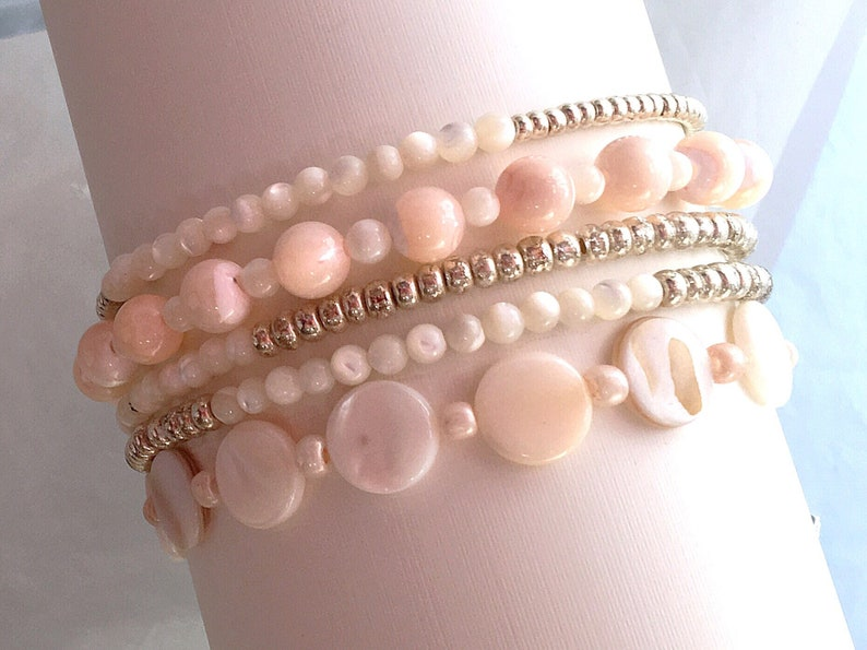 Pink Stretch Bracelet SetPink Pearl BraceletsWhite Stacked Bracelet SetMother Of Pearl Bracelet SetGold Bracelet Set