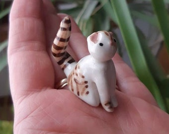 terrarium collectable black kitty cat figurine Miniature porcelain black and yellow kitty cat wee ceramic spotted cat ready to ship