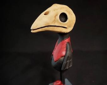 Plague Doctor inspired Bird Sculpture Halloween Folk Art