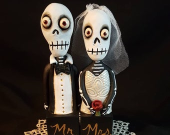 Gothic Cake Topper Mr. and Mrs. Skeleton Couple Halloween Folk Art