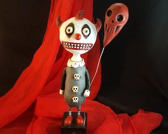 Clown Sculpture Creepy Cute Circus Clown Folk Art