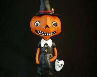 Halloween Pumpkin Witch Vintage Halloween Inspired, One of a Kind, Paper Clay Halloween Folk Art Decoration.