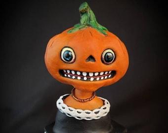 Halloween Folk Art Pumpkin Girl Figurine.  Vintage Inspired, Vegetable People, Paper Clay Halloween Decoration.