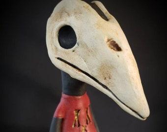 Plague Doctor inspired Bird Boy Sculpture Halloween Folk Art