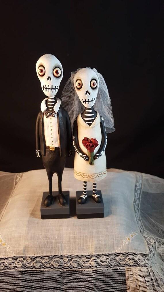 Gothic Wedding Cake Topper Skeleton Wedding Couple Halloween Folk Art