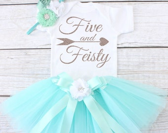 Five And Feisty Girls Birthday Tutu Outfit Year Old 5 Fifth T04 5BD AQUA