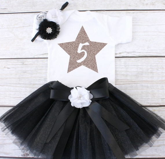 Five Year Old Birthday Outfit 5 Fifth Girls Tutu 5th T03 5BD BLACK