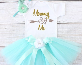 Mommy Loves Me Outfit. Mother's Day Outfit.  Girls Tutu Outfit.  Tutu Outfit. Girls Mother's Day Tutu. T15 MDY (AQUA)