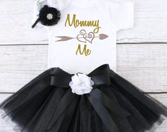 Mommy Loves Me Outfit. Mother's Day Outfit.  Girls Tutu Outfit.  Tutu Outfit. Girls Mother's Day Tutu. T15 MDY (BLACK)