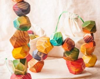 Tumi ishi - Wooden stones - Colorful Gem stones - Rainbow colours - Waldorf toys - Montessori materials - Set of 7 - Balancing toys