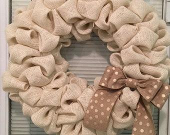 Cream, burlap, bubble, wreath, 14 inch, styrofoam wreath form, classic burlap color polka dot bow
