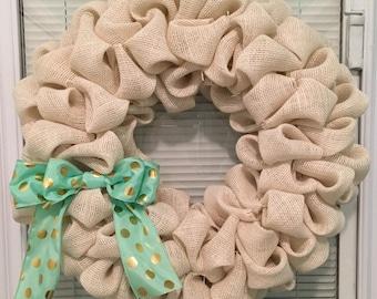 Cream, burlap, bubble, wreath, 14 inch, styrofoam wreath form, aqua polka dot bow