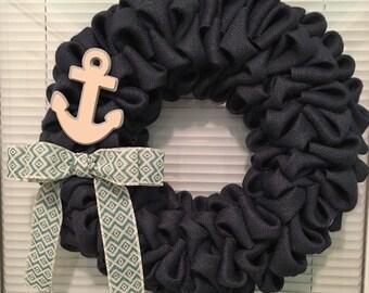 Navy blue, burlap, bubble, wreath, 12 inch, styrofoam wreath form, nautical, anchor, twal print bow