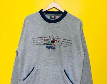 RARE!! Free Shipping! Vintage 90's Popeye X Gianni Valentino Italy Embroided Popeye Logo Large Size
