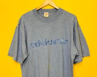 Free Shipping!! Vintage Adidas Light Sweatshirt Embroided Three Foil logo Big Spell Wording Medium Size Swag Hip Hop