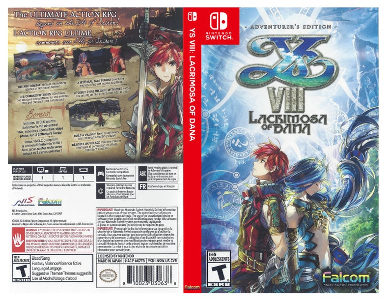 Custom Nintendo Switch Art Cover w/ Game Case YS VIII: | Etsy
