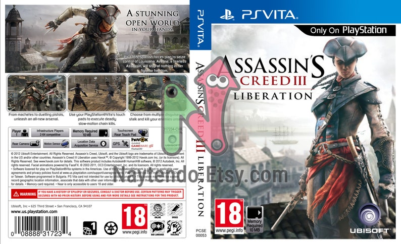 Assassin's Creed III: Liberation - Custom PS Vita Art Cover w/ Game Case