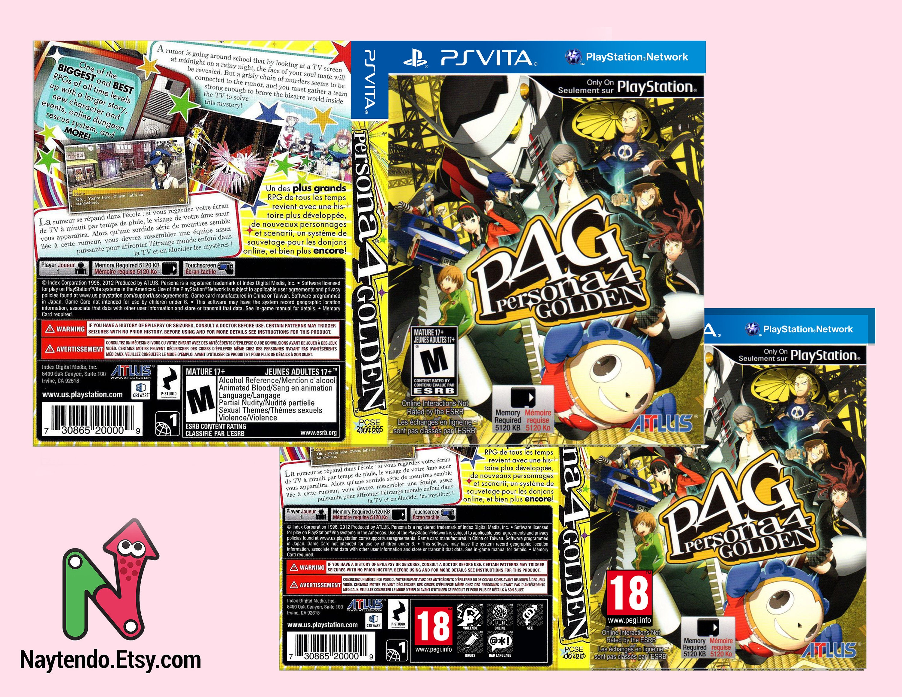 Persona 4 Golden - Custom PS Vita Art Cover w/ Game Case