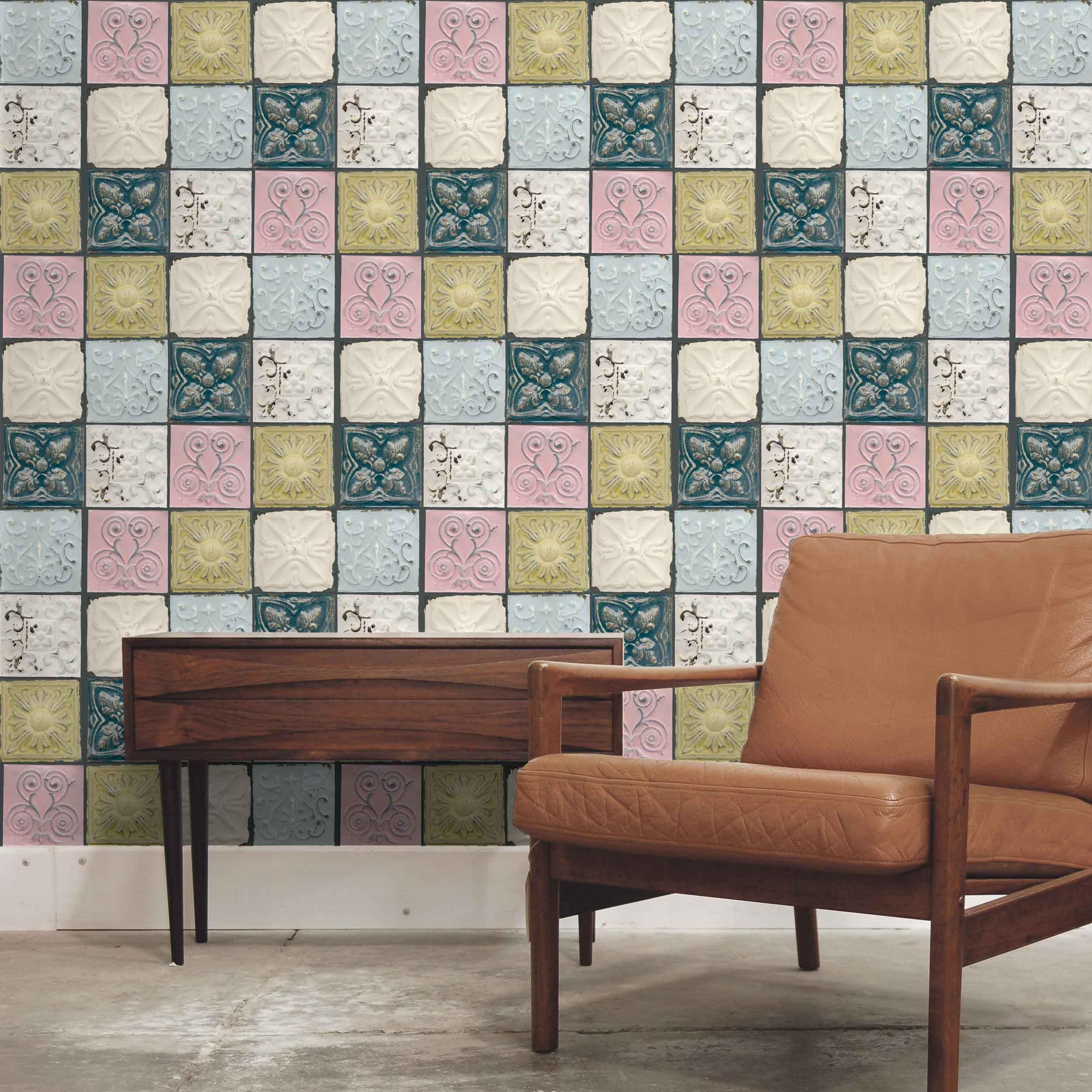 Tin tiles in colour antique tin tile feature wallpaper - American tin tiles wallpaper ...