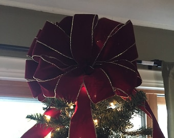 double bow burgandy velvet timeless and elegant christmas tree topper with 4 ribbon garlands