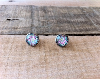 Earrings stainless steel studs, Bohemian patterned, colorful and zen look style. summer collection