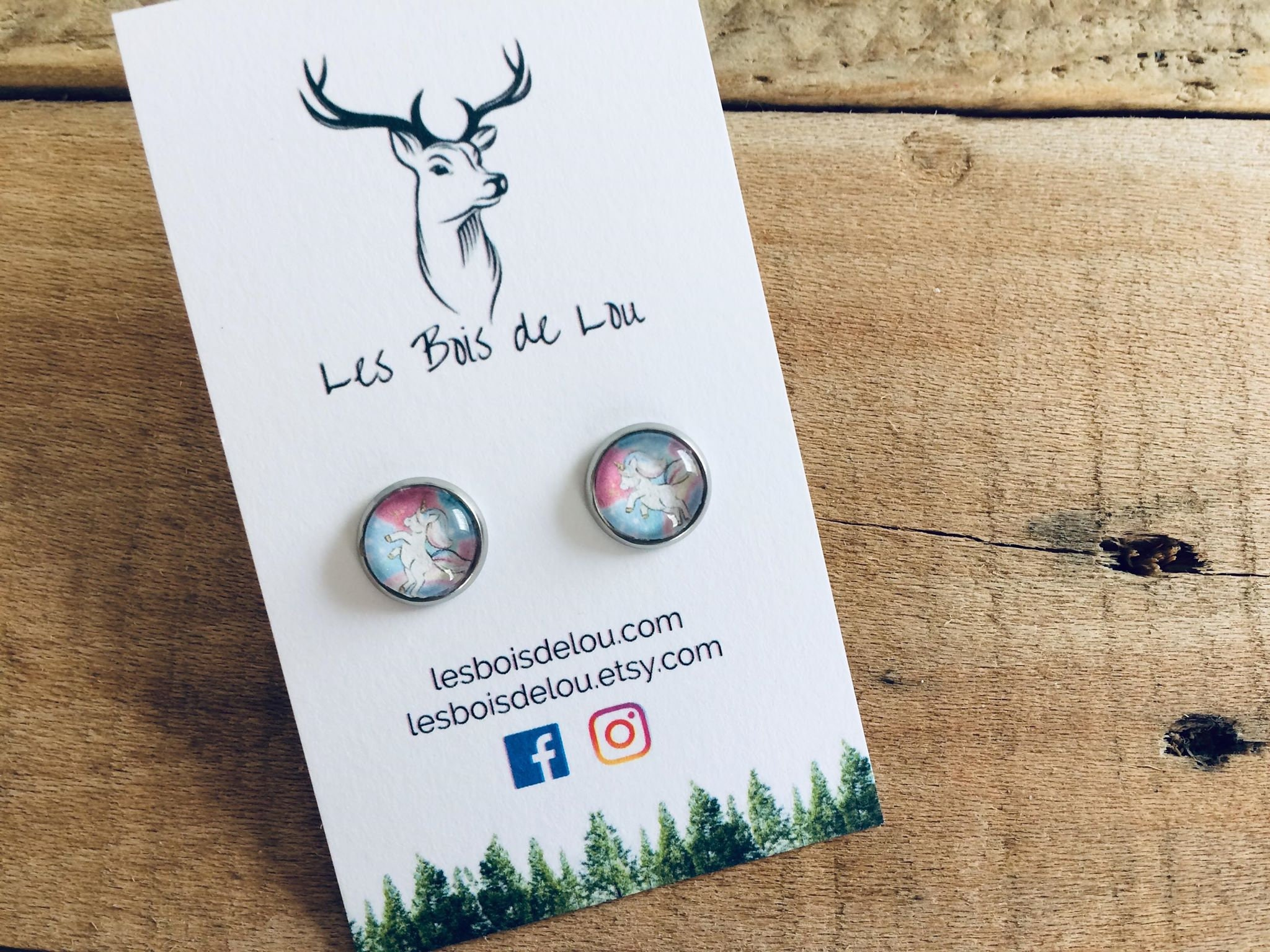 Piscine En Inox Steel And Style gabrielle collection-children's earrings-small stainless steel  buckles-great unicorn-hypoallergenic lou woods
