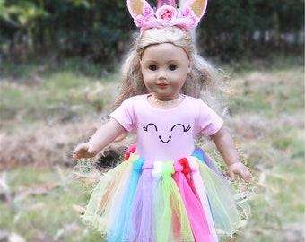 198cb3377 18 inch Girls Dolls Clothes Unicorn Costume Handmade Unicorn Clothes,  Headband, Tutu -fits American Girl, Our Generation My Life Adora Gotz