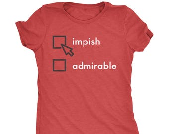 Impish or Admirable Dwight Christmas Women's Tri-Blend T-Shirt