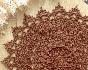 Crochet doily brown doily Lace doily Crochet table topper doily Round doily doilies housewarming gift