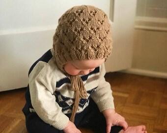 Baby Bonnet Pattern - Knitting Pattern - Newborn Bonnet - PDF Download - Bonnet Pattern - Knit Bonnet Pattern - Lace Bonnet Pattern