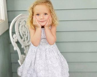 Girls summer dress, baby girl dress,ruffle floral paisley dress