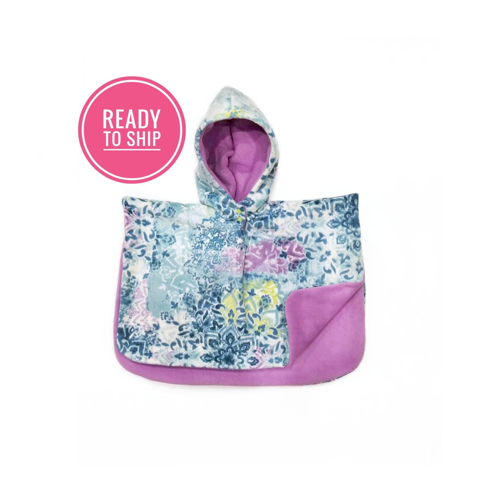 blue floral Luxury Fleece carseat poncho Car seat Poncho girl carseat poncho