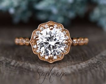 157d544537cd38 Brilliant Round Cut Vintage Floral Engagement Ring in 14k Rose Gold
