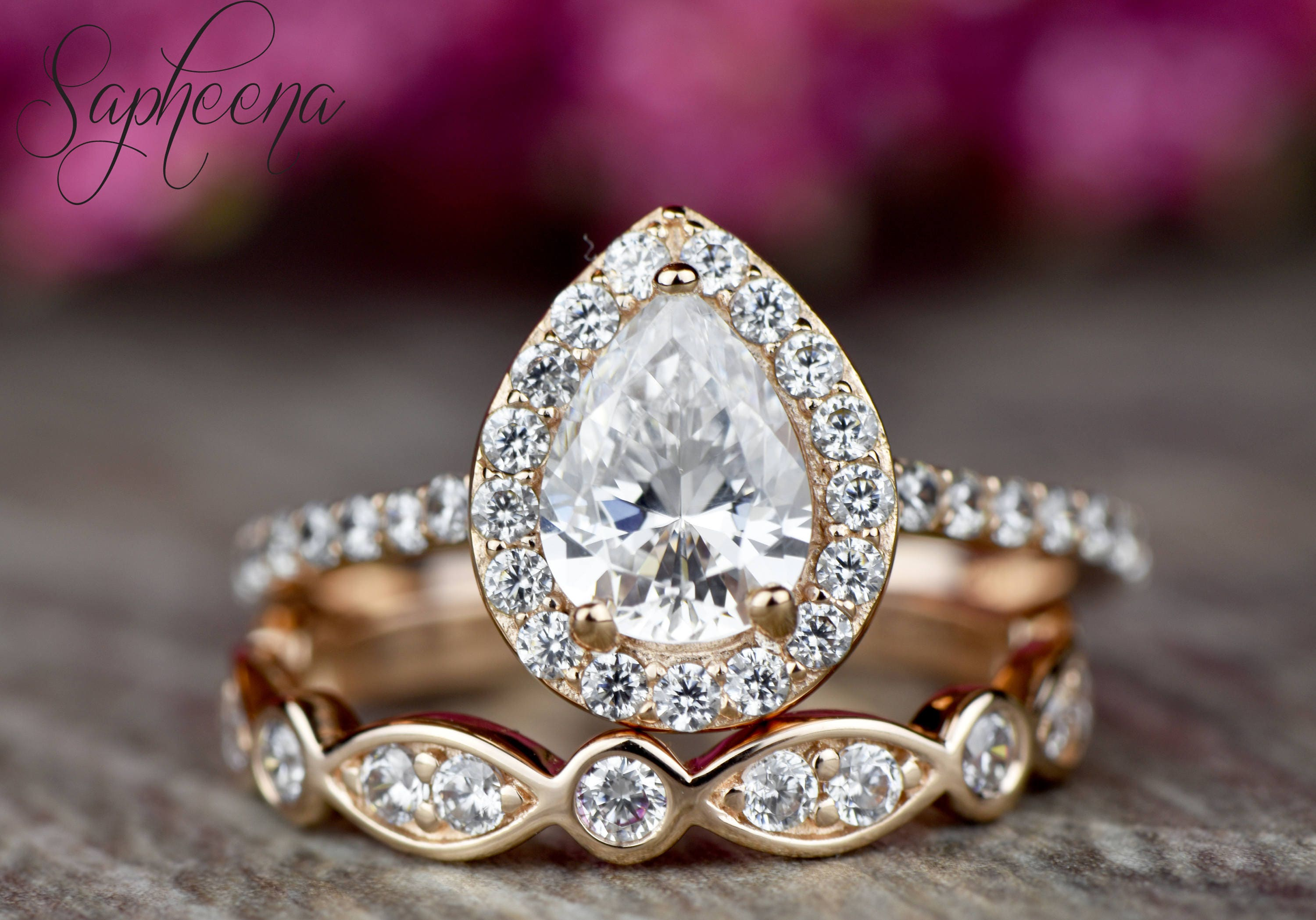 pear halo moissanite engagement ring art deco wedding band. Black Bedroom Furniture Sets. Home Design Ideas