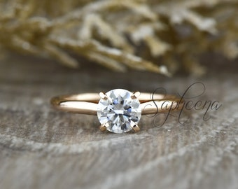 Dainty Round Moissanite Solitaire Engagement Ring 14k Rose Gold,6mm/6.5mm Round Moissanite Solitaire Ring or White Sapphire Ring by Sapheena