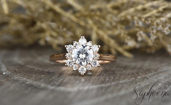 Snowflake Round Halo Moissanite Diamond Ring In 14k Rose Gold,6mm Round Cut Moissanite Bridal Ring,Moissanite Promise Ring By Sapheena by Etsy
