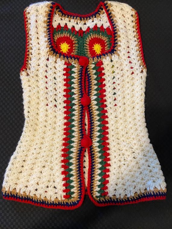 Vintage Crochet Vest/Retro Granny Square Pattern/… - image 1