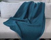 Soft Teal Sweater Blanket Textured Diamond Afghan Housewarming Gift Wedding Gift Turquoise Blue Throw Blanket