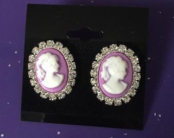 Purple cameo earrings