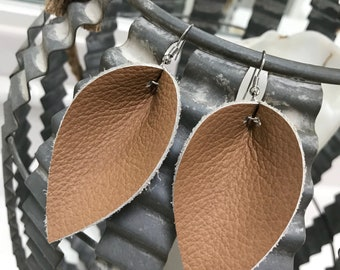 Buff genuine leather petal drop earrings
